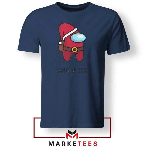 Santa Is Sus Game Navy Blue Tshirt