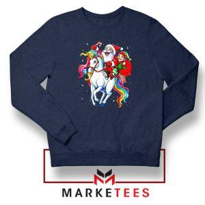 Santa Riding Unicorn Navy Blue Sweatshirt
