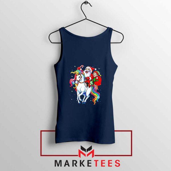 Santa Riding Unicorn Navy Blue Tank Top