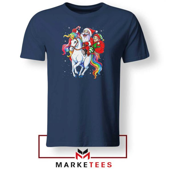 Santa Riding Unicorn Navy Blue Tshirt