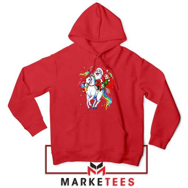 Santa Riding Unicorn Red Hoodie