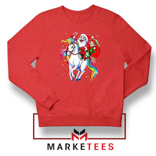 Santa Riding Unicorn Red Sweatshirt