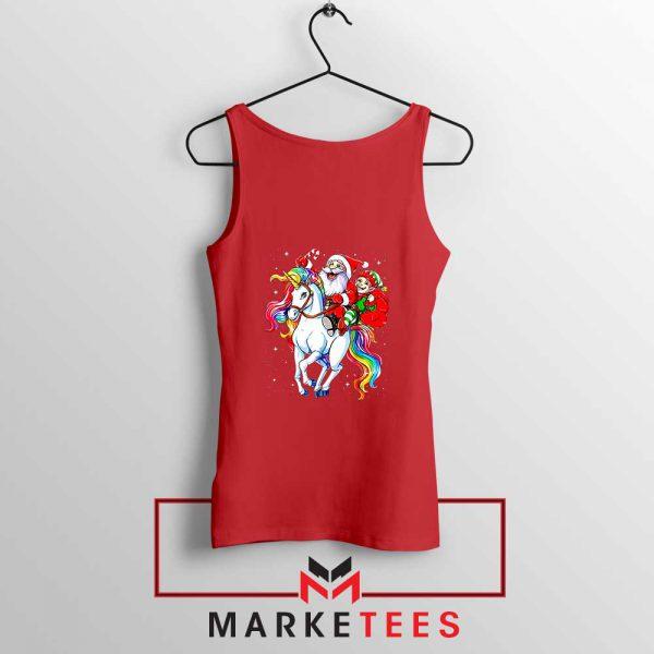 Santa Riding Unicorn Red Tank Top