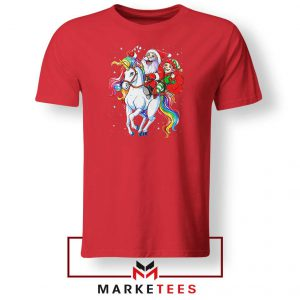 Santa Riding Unicorn Red Tshirt