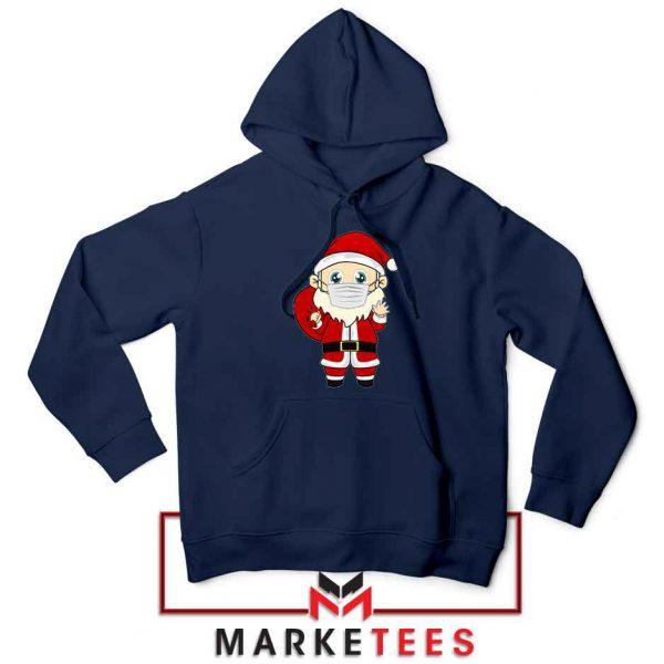 Santa With Mask Navy Blue Hoodie