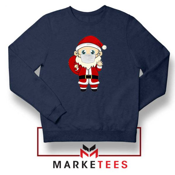 Santa With Mask Navy Blue Sweatshirt