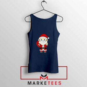 Santa With Mask Navy Blue Tank Top