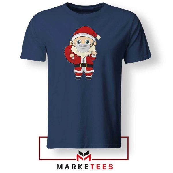 Santa With Mask Navy Blue Tshirt