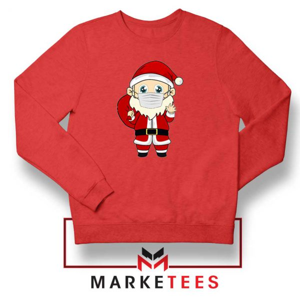 Santa With Mask Red Sweatshirt