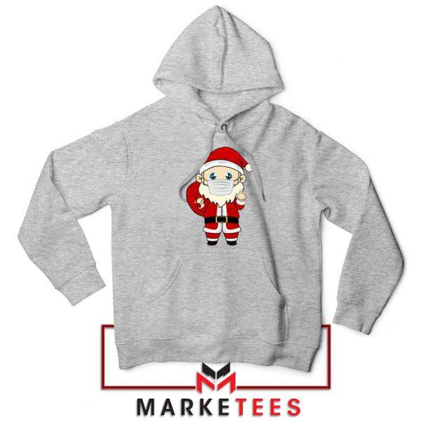 Santa With Mask Sport Grey Hoodie