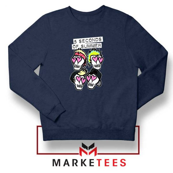 Skull Band 5SOS Navy Blue Sweatshirt