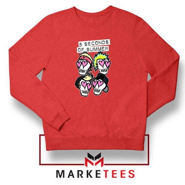 Skull Band 5SOS Red Sweatshirt
