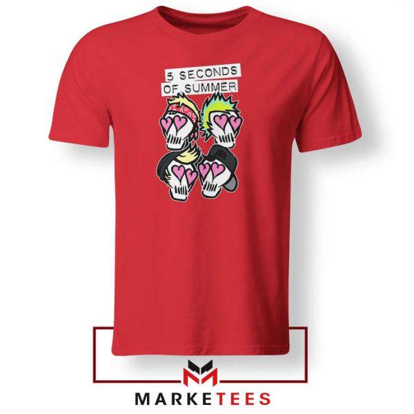 Skull Band 5SOS Red Tshirt