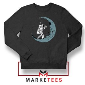 Astronaut Digging Moon Black Sweatshirt