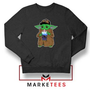 Babyyoda Bubble Tea Black Sweatshirt