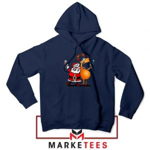 Santa and Reindeer Navy Blue Hoodie