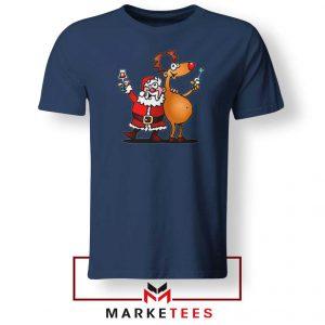 Santa and Reindeer Navy Blue Tshirt