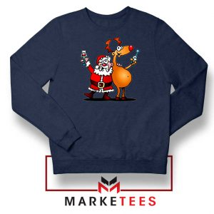 Santa and Reindeer Navy blue Sweatshirt