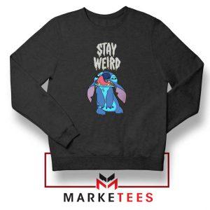 Stitch Stay Weird Black Sweatshirt
