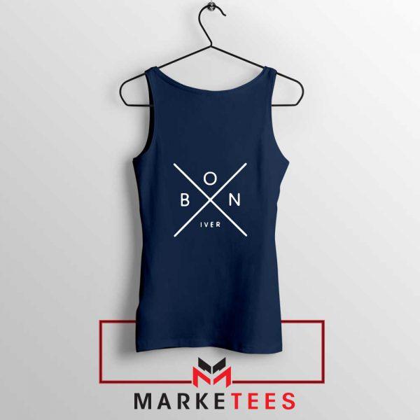 Bon Iver Band X Logo Design Navy Blue Tank Top