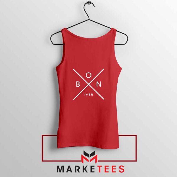 Bon Iver Band X Logo Design Red Tank Top