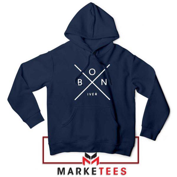 Bon Iver Band X Logo Jacket Navy Blue Hoodie