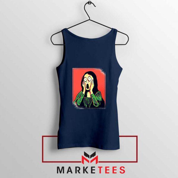 Mona Lisa Cartoon Best Graphic Navy Blue Tank Top