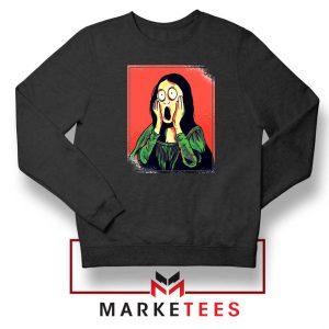 Mona Lisa Cartoon Design Black Sweatshirt