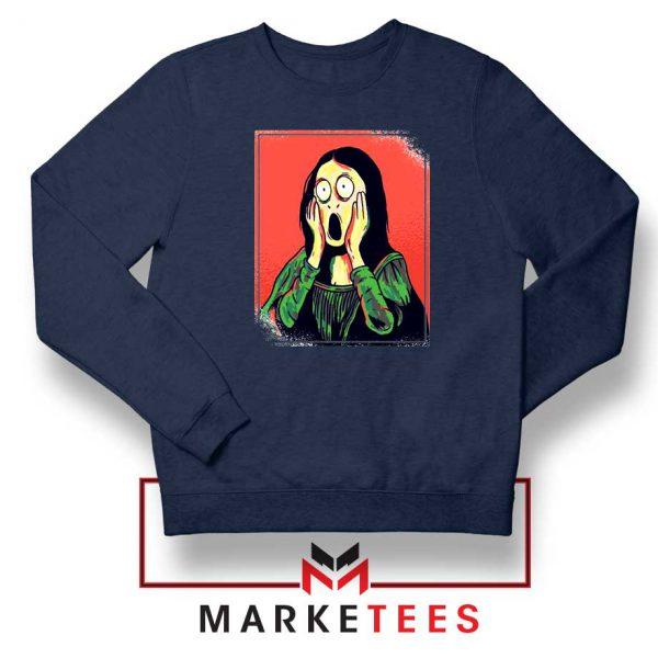 Mona Lisa Cartoon Design Navy Blue Sweatshirt