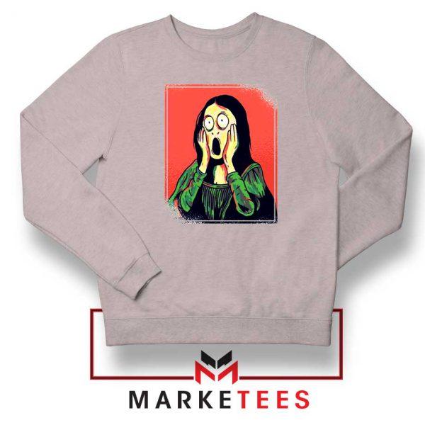 Mona Lisa Cartoon Design Sport Grey Sweatshirt