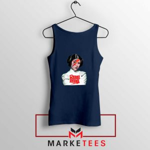Princess Leia Rebel David Bowie Navy Blue Tank Top