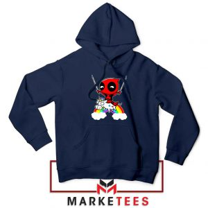 Deadpool Film Unicorn Navy Blue Hoodie
