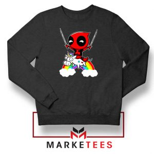Deadpool Marvel Unicorn Black Sweatshirt