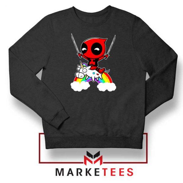 Deadpool Marvel Unicorn Black Sweatshirt