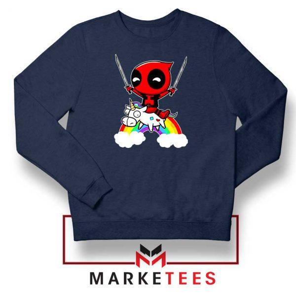 Deadpool Marvel Unicorn Navy Blue Sweatshirt