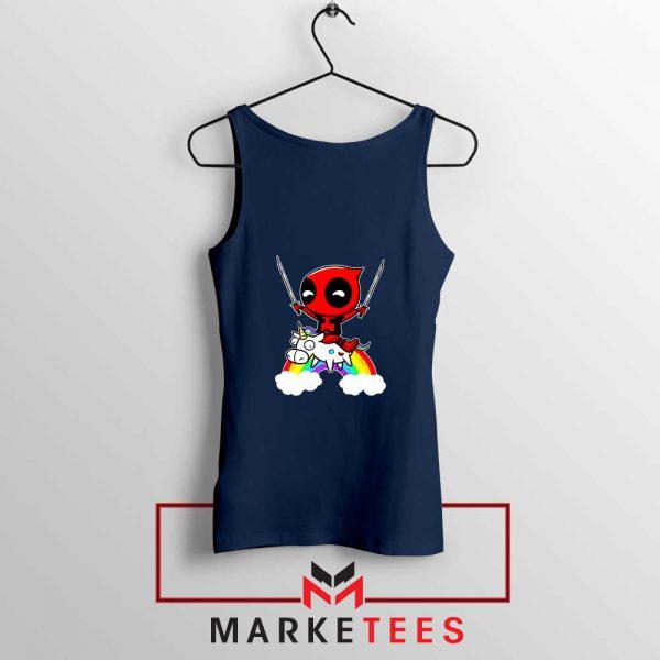 Deadpool X Men Unicorn Navy Blue Tank Top