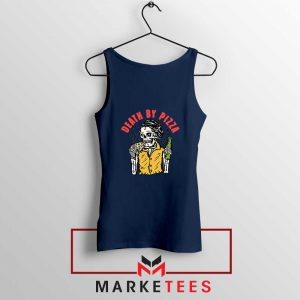 Death By Pizza Italian Best Navy Blue Tank Top