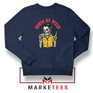 Death By Pizza Italian New Navy Blue Sweatshirt