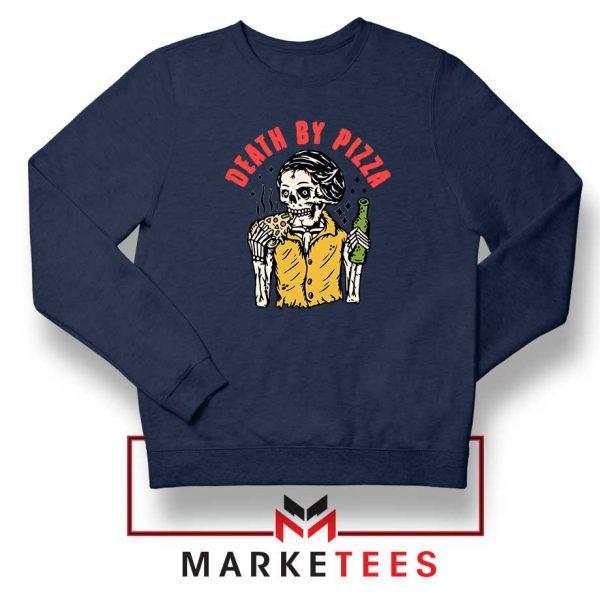 Death By Pizza Italian New Navy Blue Sweatshirt