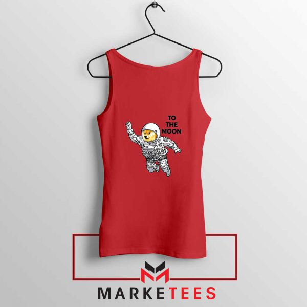 Dogecoin To The Moon Cheap Red Tank Top