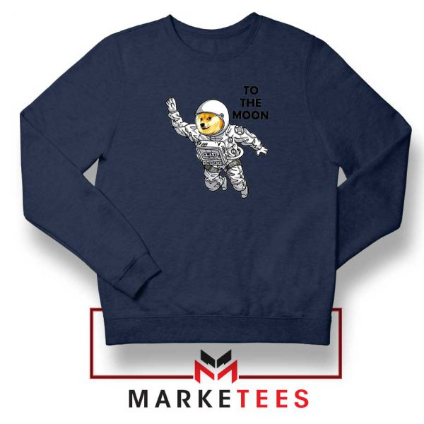 Dogecoin To The Moon Navy Blue Sweatshirt