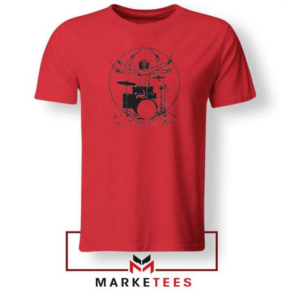Drummer Band Vintage Music Red Tshirt