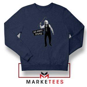 Einstein Stupid Slogan Navy Blue Sweatshirt