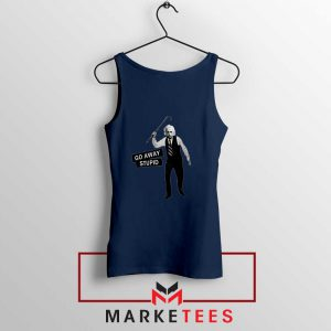 Einstein Stupid Slogan Navy Blue Tank Top