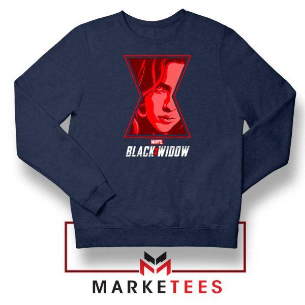 Black Widow Close Up Marvel Navy Blue Sweatshirt