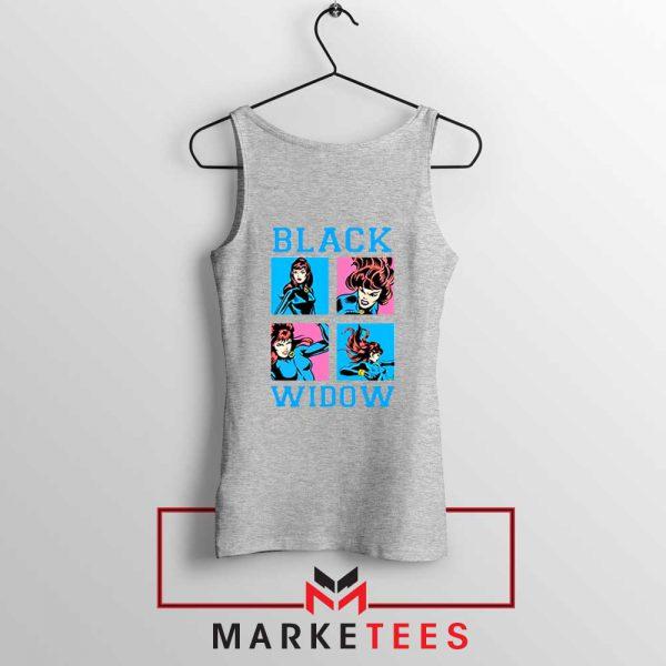 Black Widow Panels Girls Cheap Grey Tank Top