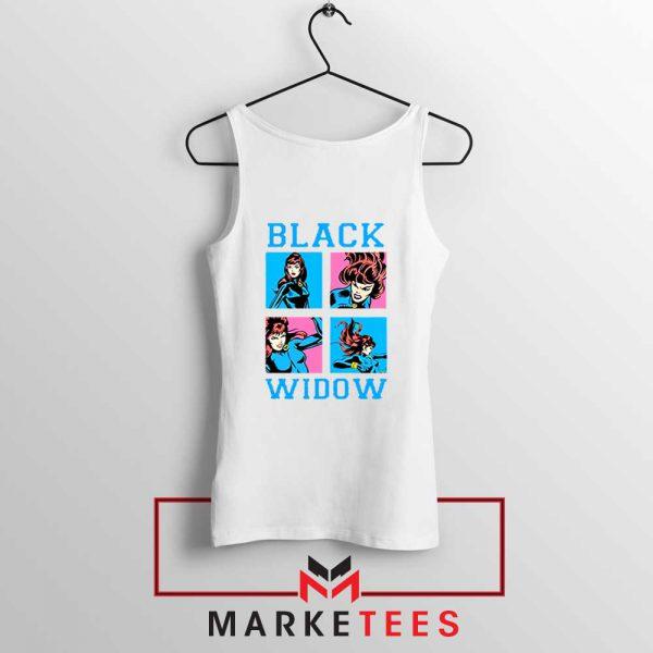 Black Widow Panels Girls Cheap White Tank Top