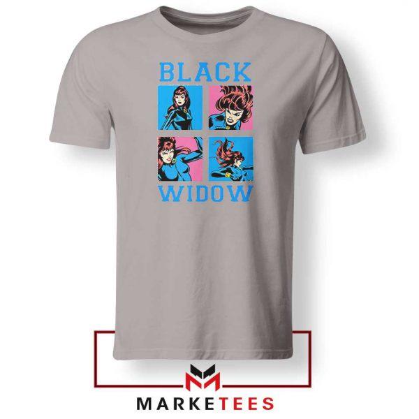 Black Widow Panels Girls Marvel Grey Tshirt