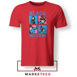 Black Widow Panels Girls Marvel Red Tshirt