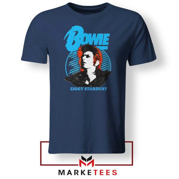 David Bowie Singer Ziggy Stardust Navy Blue Tshirt
